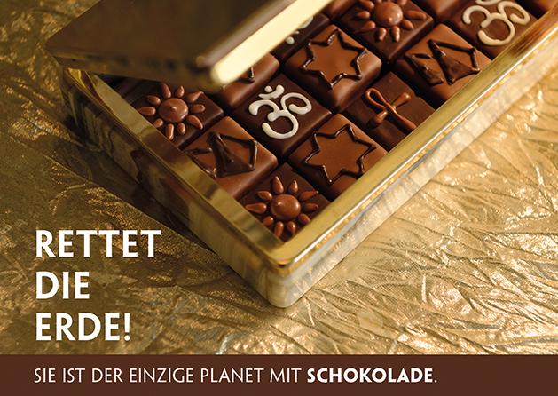 Poesie-Postkarte 176_Der einzige Planet mit Schokolade